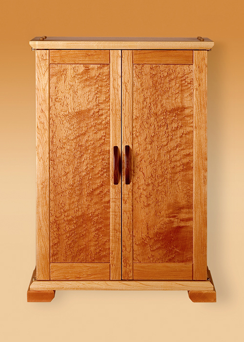 Birds Eye Maple Jewelry Cabinet–Outside View