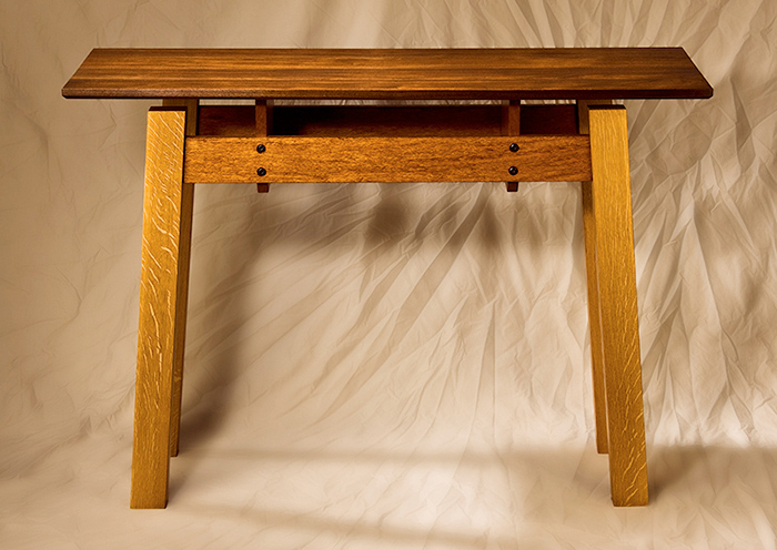 Black Walnut, Quartersawn White Oak & Jatabo Sofa Table