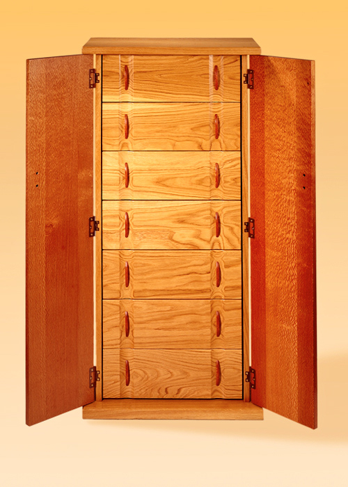 Lacewood & White Oak Compact Disc Cabintet-Inside View