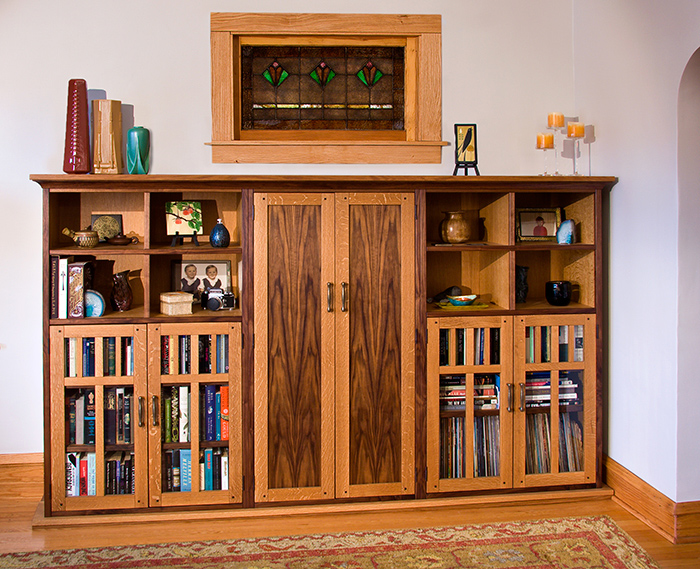 Quarter Sawn White Oak & Walnut Bookcases & Cabinets