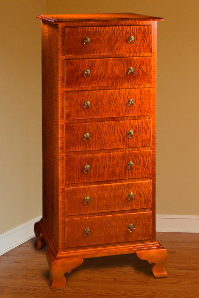 Seven Drawer Curly Maple Lingerie Cabinet