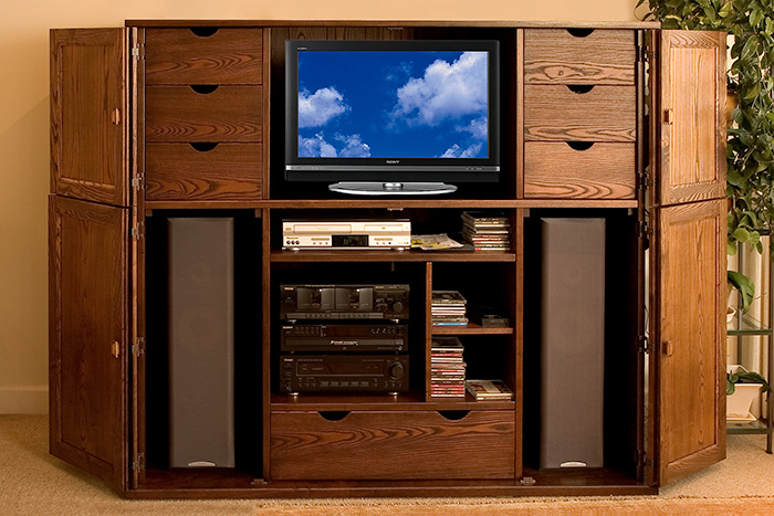 Solid Ash Entertainment Center–Inside View