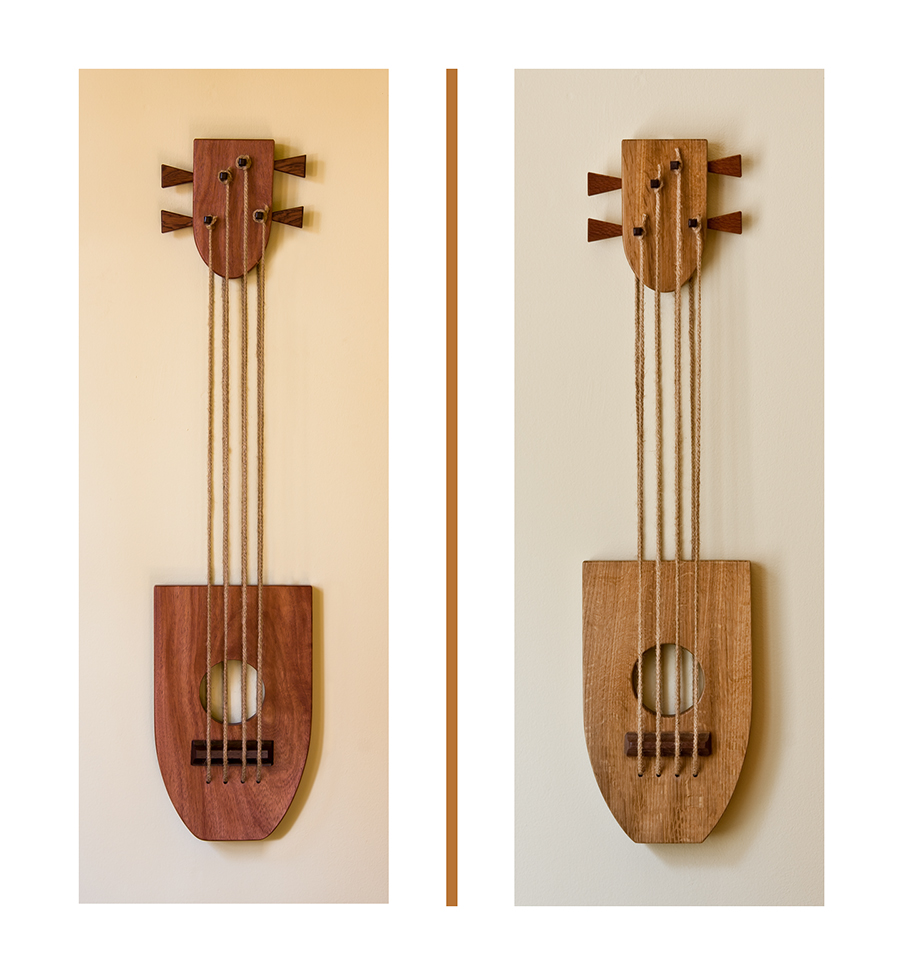 Guitar Sculptures - [L]Santos Mahogany - [R]Quarter-Sawn White Oak