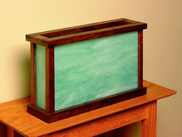 Walnut with Green Art Deco Glass