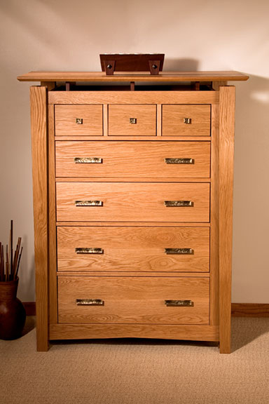 White Oak & Mahogany–Seven Drawer Dresser