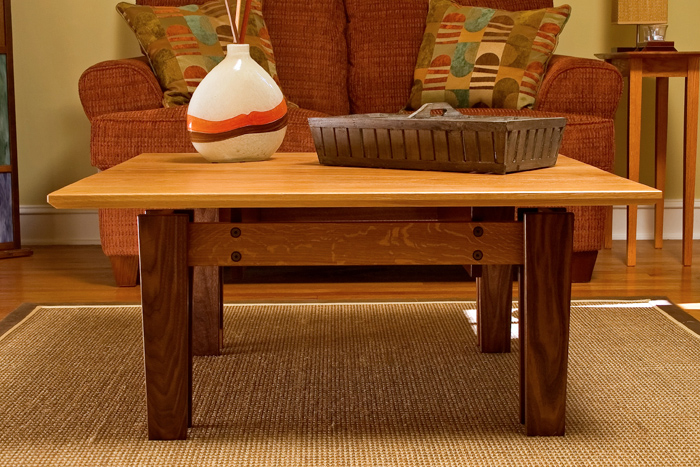White Oak, Walnut, & Leopardwood Coffee Table Front View