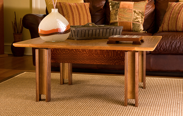White Oak, Walnut, & Leopardwood Coffee Table Side View
