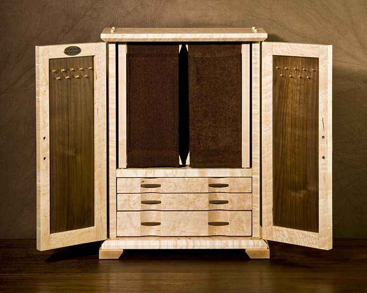 Bird's Eye Maple and Walnut Jewelry Cabinet [Inside View]