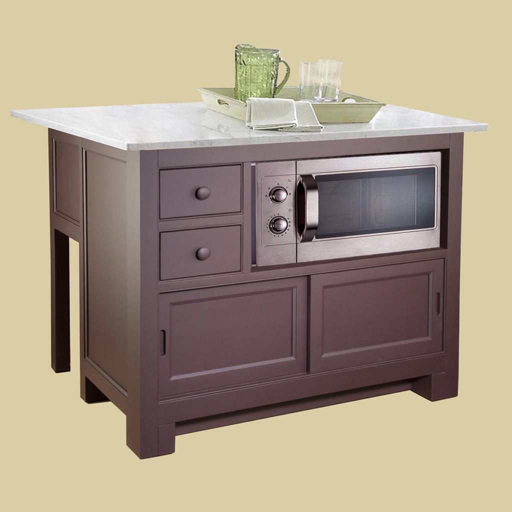 Painted Wooden Kitchen Island with Microwave