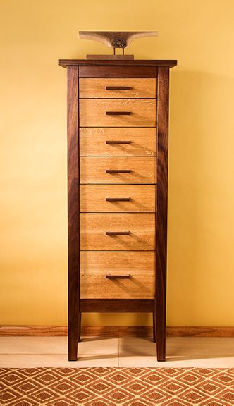 Walnut+Quarter-Sawn White Oak Cabinet - 7 Drawers