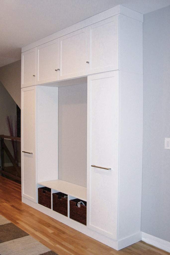 Custom White Wooden Hall Tree - Six Cabinets
